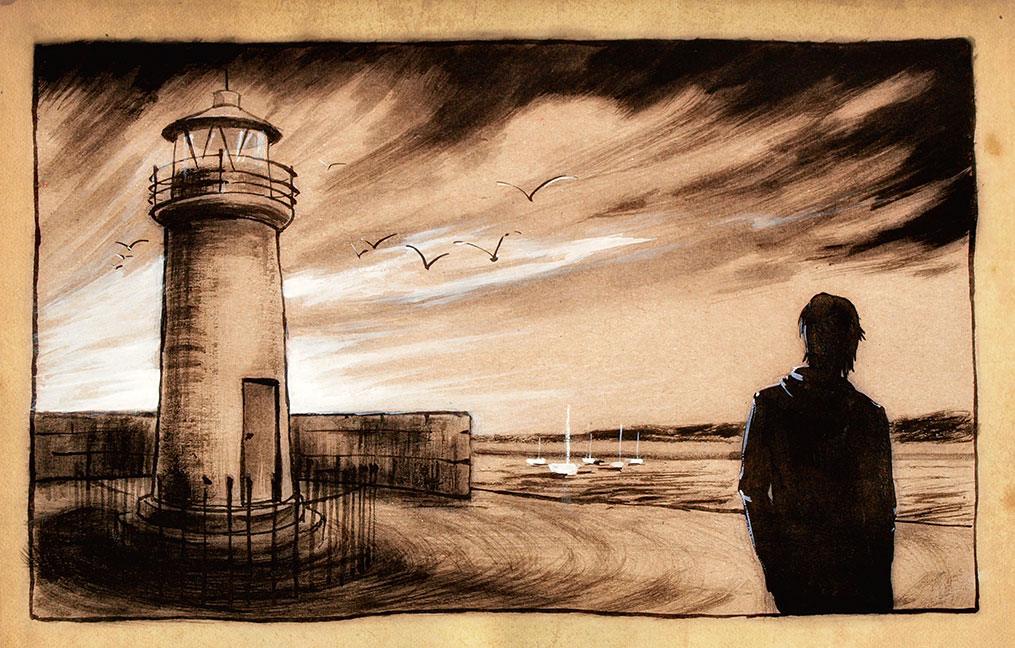 Dun Laoghaire - ink, gouache and digital on coloured paper