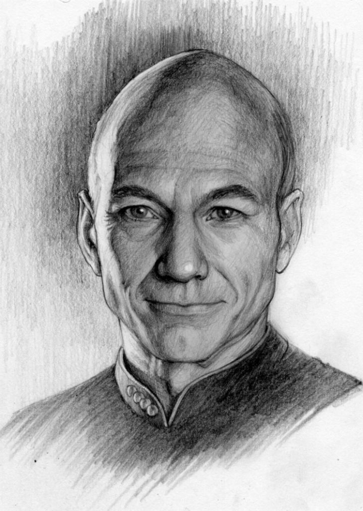 graphite - illustration - portrait - Jean-Luc-Picard