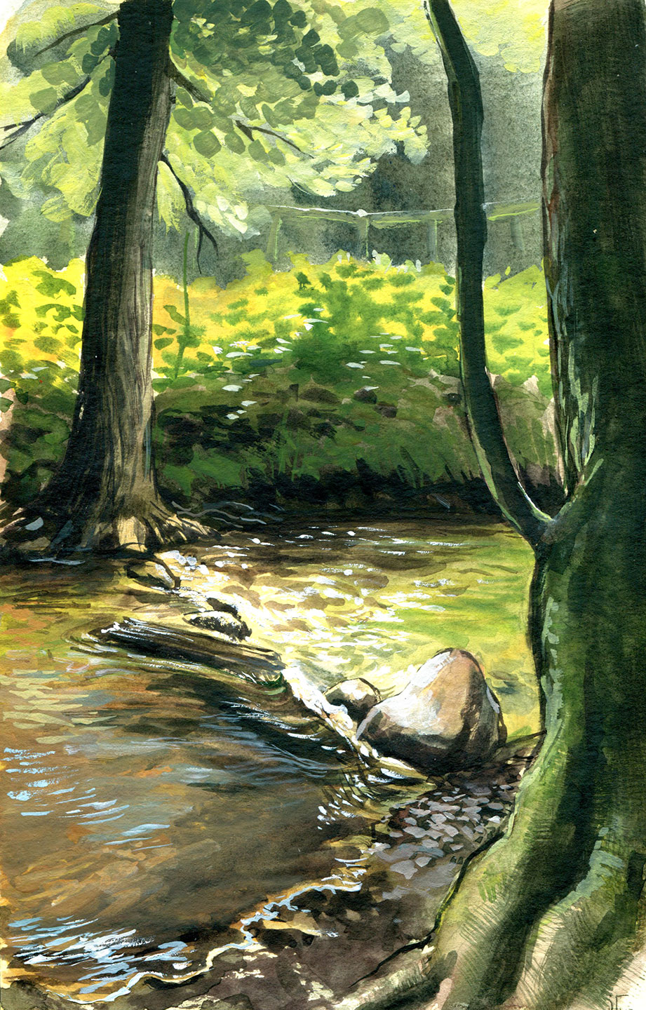 water colour - gouache - illustration - brook in Hanshagen
