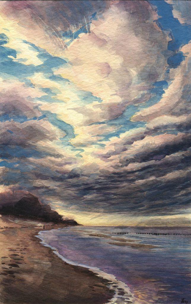 The Prerow Beach - water colour and gouache
