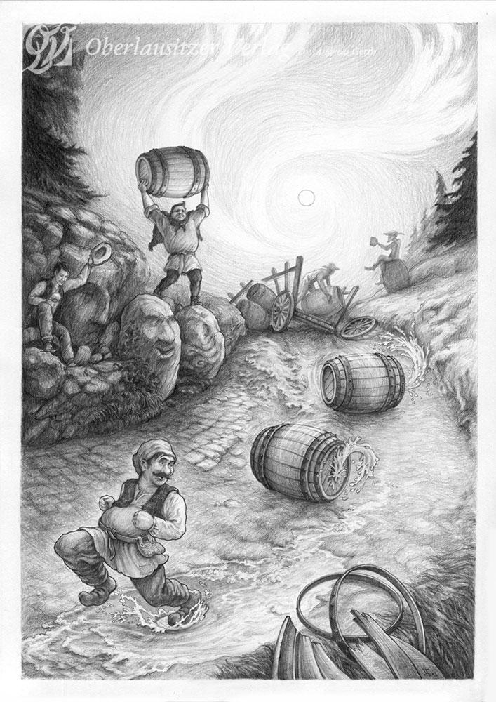 Bleistift - Illustration - Sagenbuch - Der Bierstreit