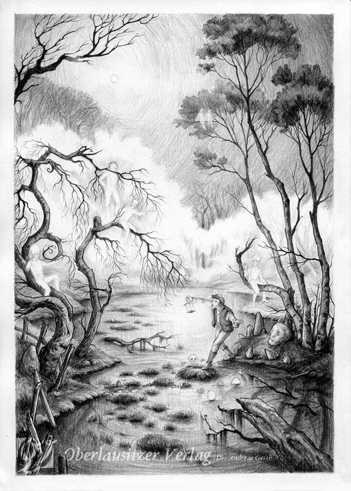 Bleistift - Illustration - Sagenbuch - Der schwarze Teich