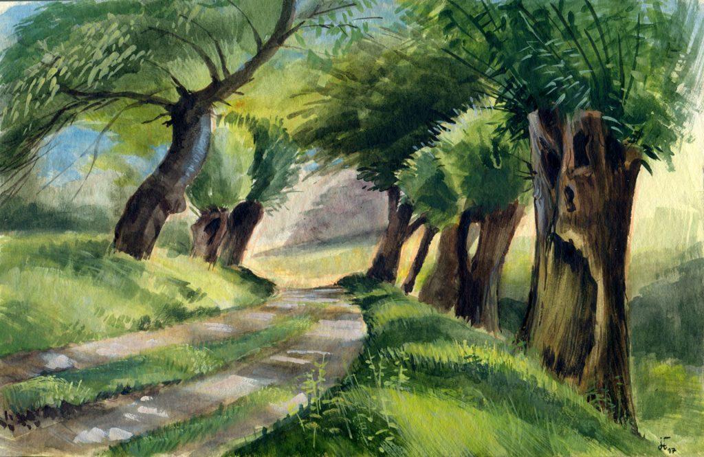 Aquarell - Gouache - Illustration - Weiden auf der Halbinsel Devin