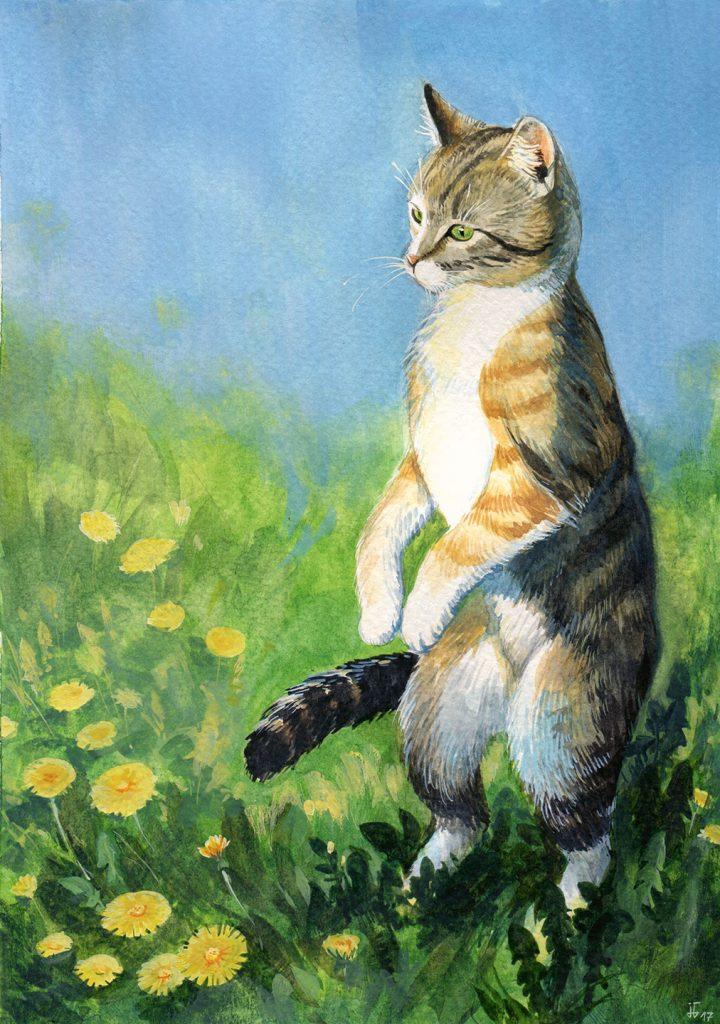 Katze auf der Wiese - Aquarell und Gouache