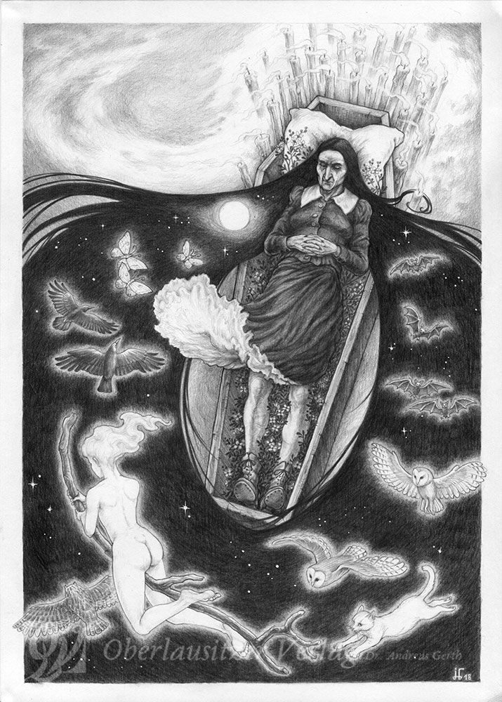 Bleistift - Illustration - Sagenbuch - Das Hexenbegräbnis