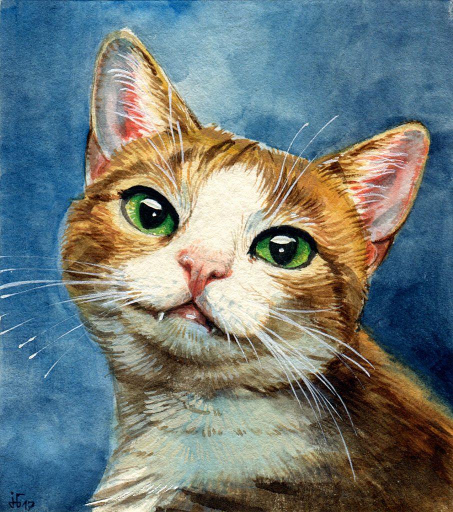 Katzenportrait - Aquarell und Gouache