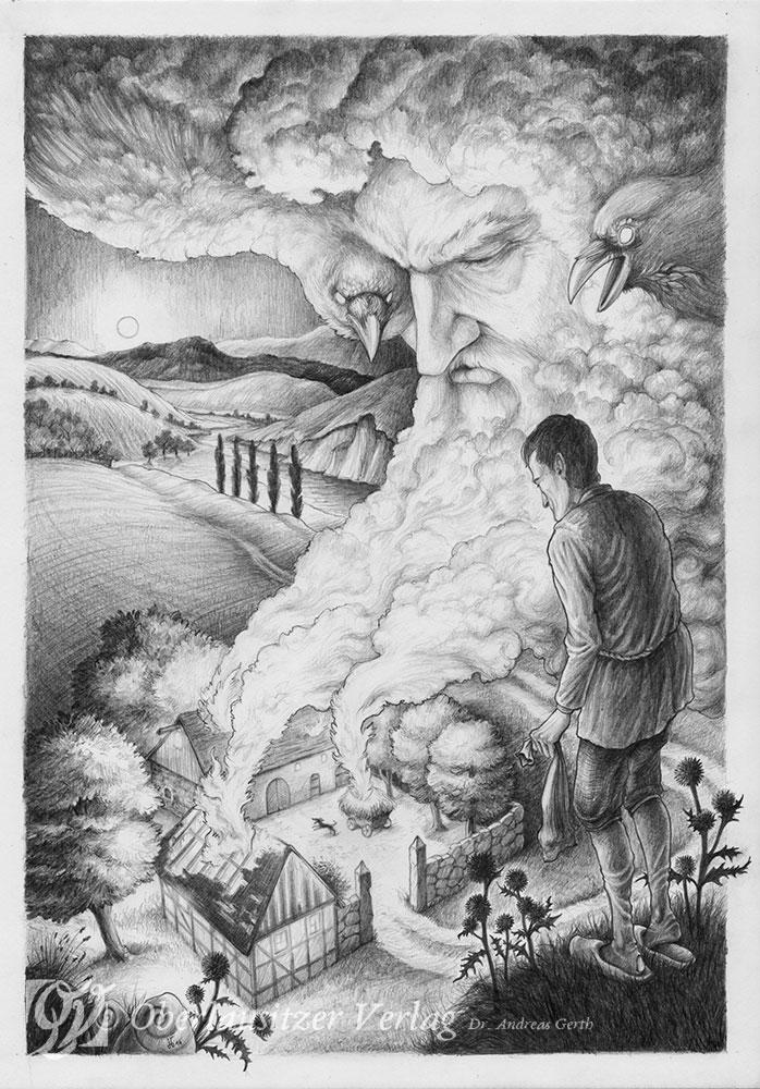 Bleistift - Illustration - Sagenbuch - Der unbarmherzige Bauer