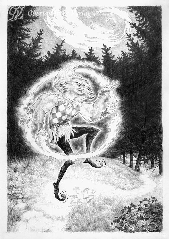 Bleistift - Illustration - Sagenbuch - Der Feuermann