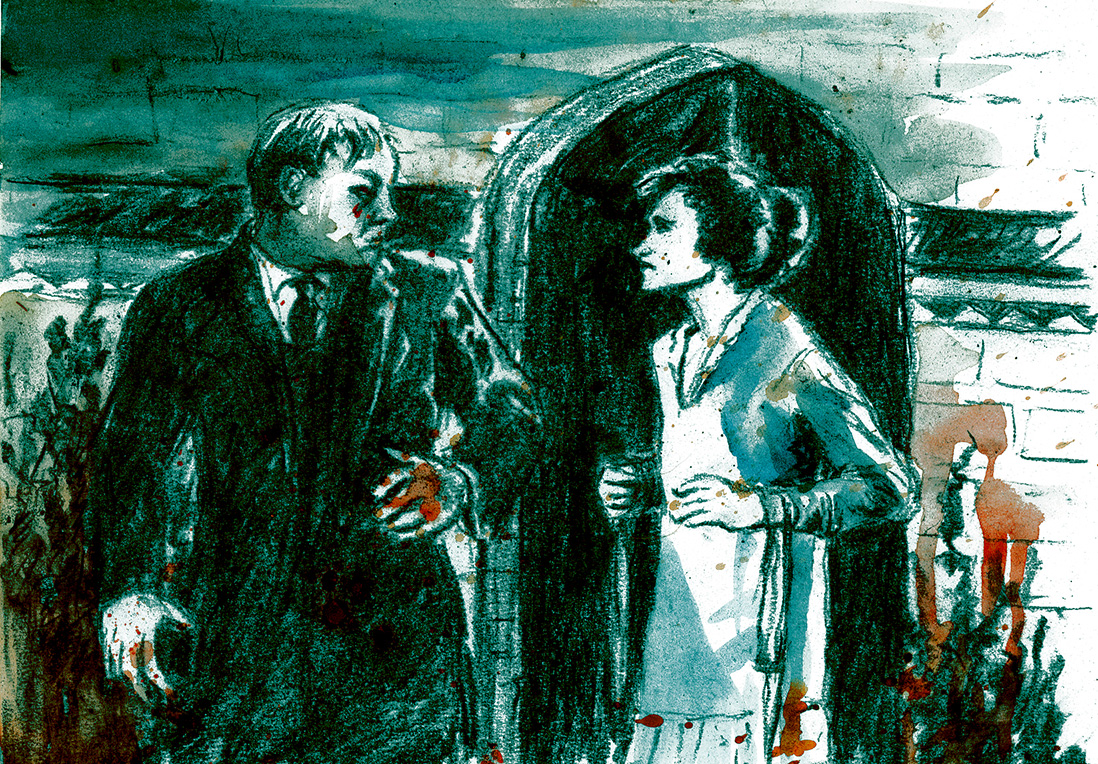 at the gate, charcoal, water colour and digital adjustments, silent movie illustration