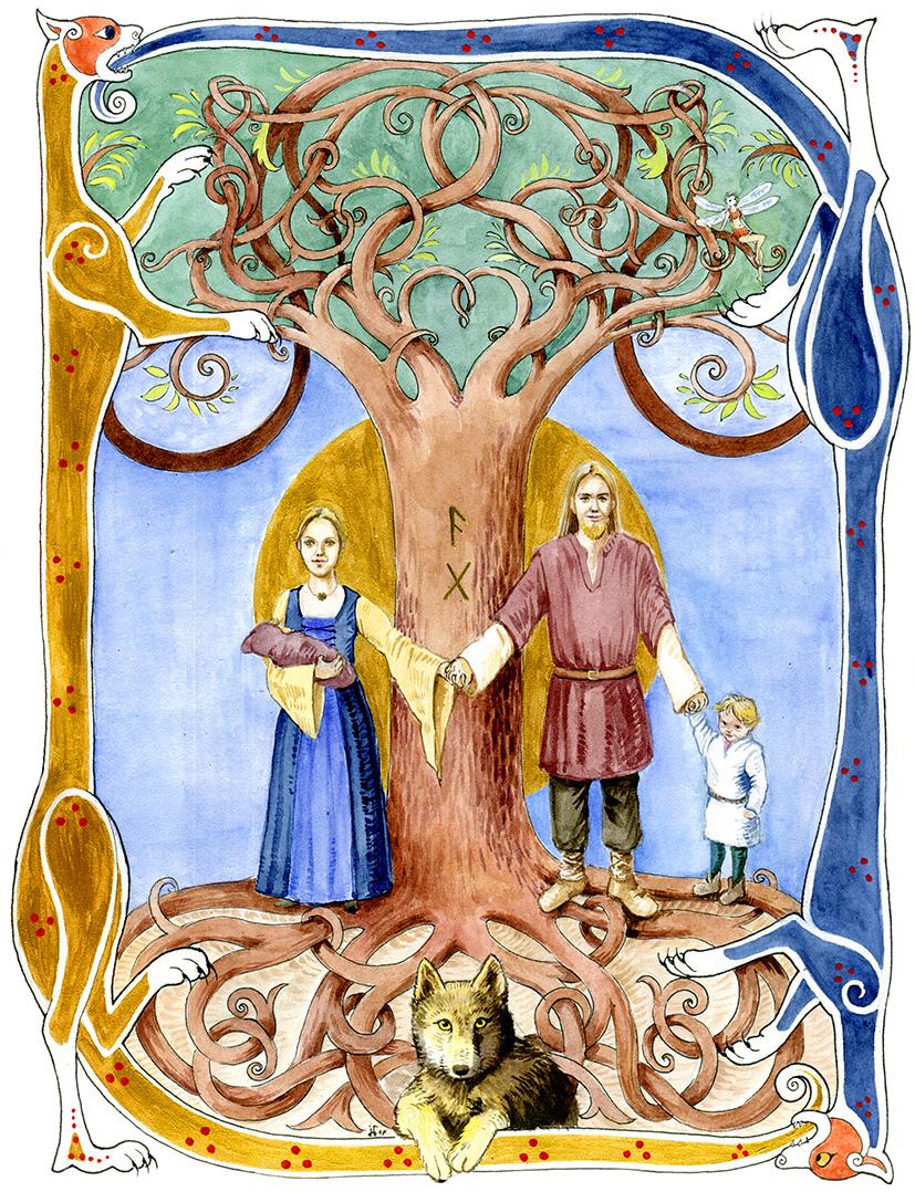 Cover-Illustration für Hochzeitszeitung, Aquarell, Acrylgold, Tusche