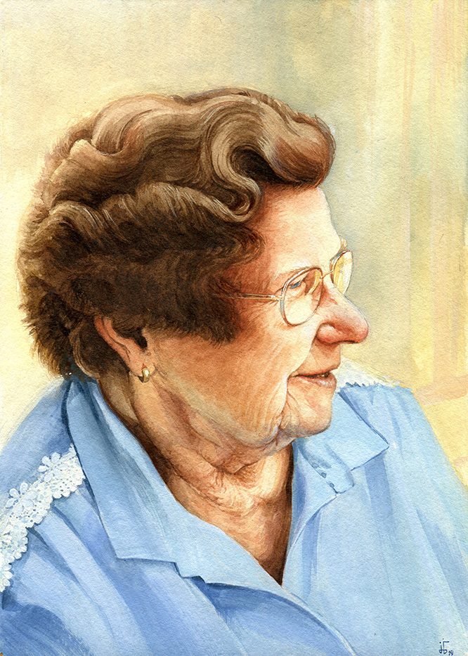 water colour - illustration - portrait - old woman