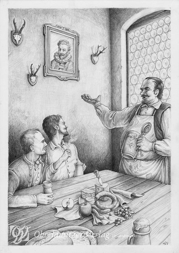 Bleistift - Illustration - Sagenbuch - Der Schenkwirt