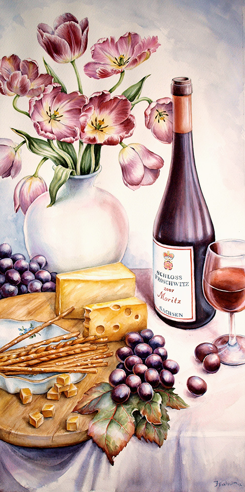water colour- food illustration- tulips, wine and cheese