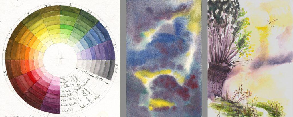 Malkurs Aquarell, Farbkreis, Mischübung, Landschaftsaquarell