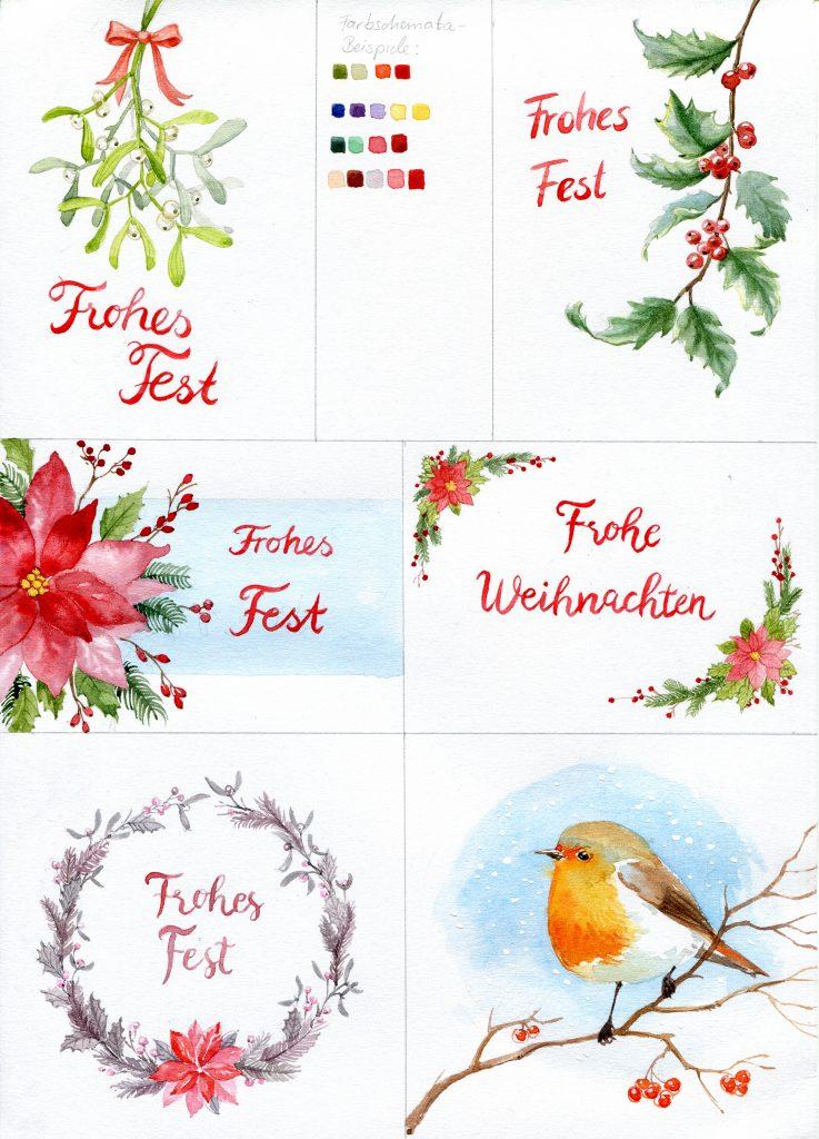 Arbeitsblatt Weihnachtskarten, Weihnachtskartenbeispiele, Weihnachtskarten Aquarell