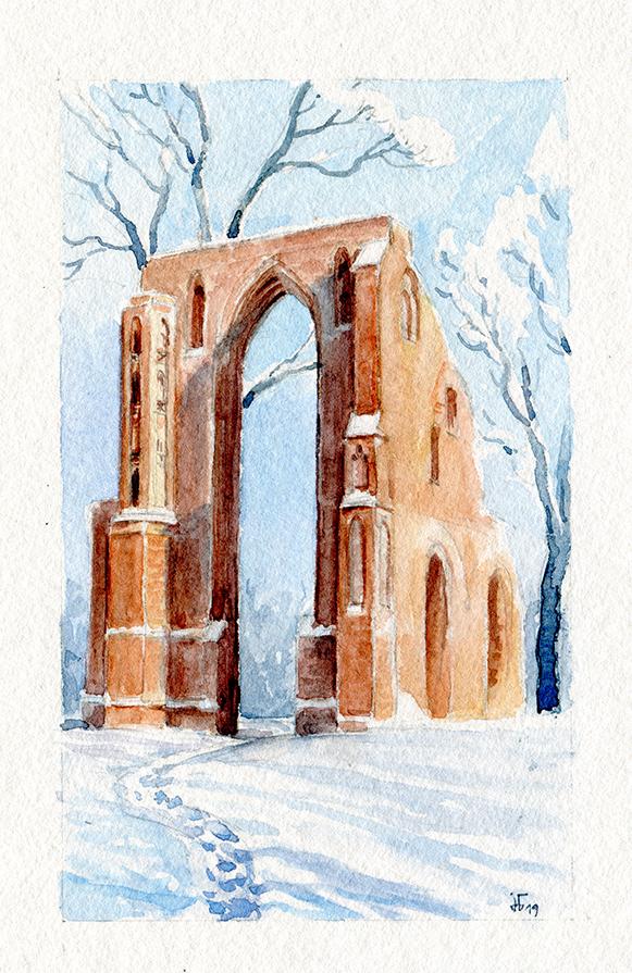 water colour- landscape - illustration - ruined abbey in Eldena in wintertime