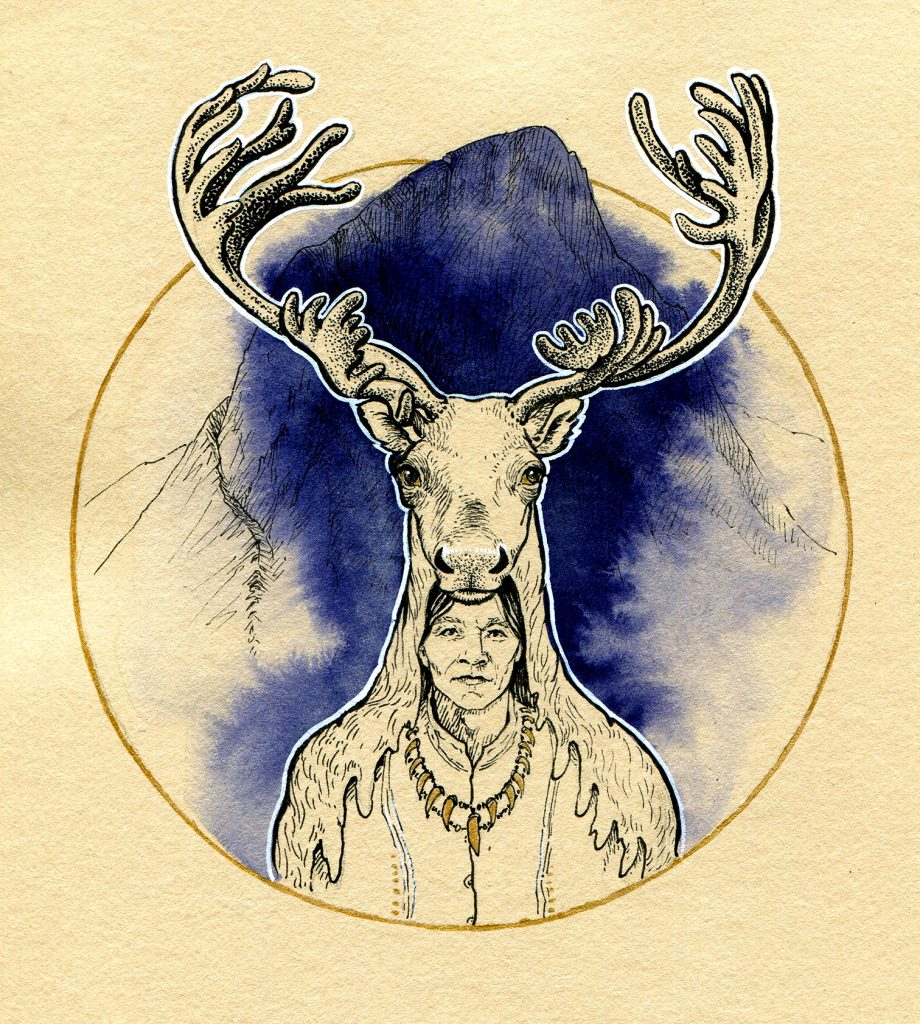 Caribou - Inktober 2019 - Tusche, indigo Zeichentusche, Gouache-Weiß und Acryl-Gold