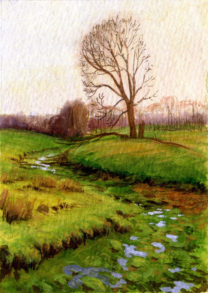 "water colour - gouache - landscape - illustration - schoolism ""water colour sketch class"" - evening light in the park in Putbus"