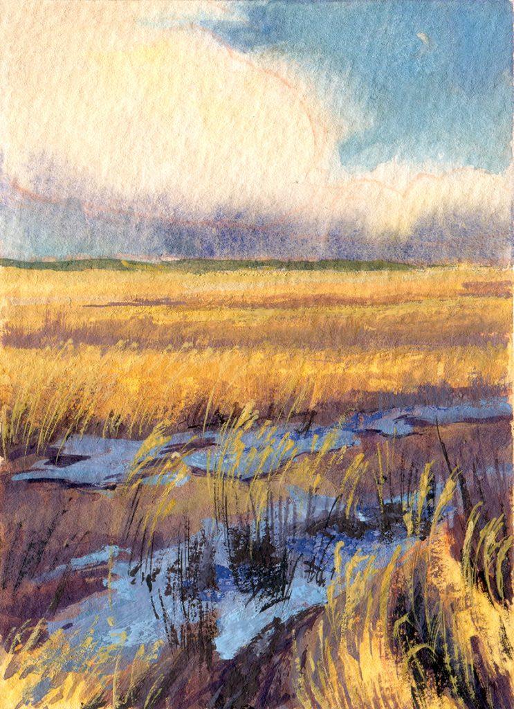"water colour - gouache - landscape - illustration - schoolism ""water colour sketch class"" - after the storm - isle of Rugia"