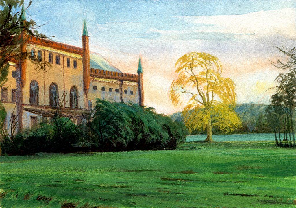 Castle Broock - schoolism water colour sketch class - water colour and gouache