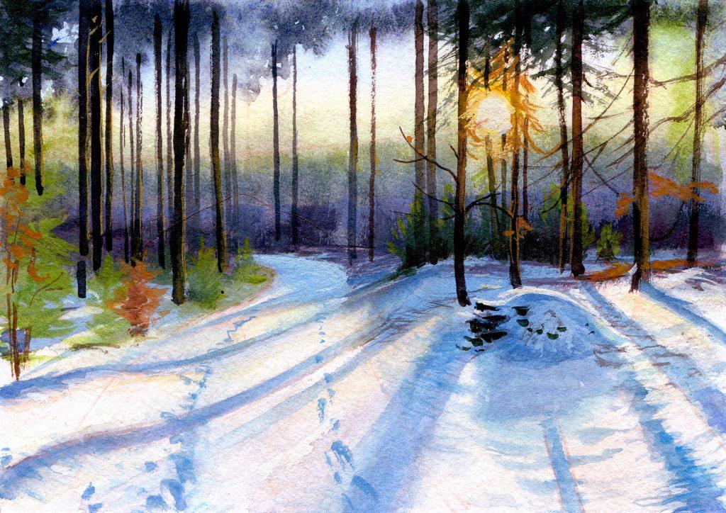 water colour - gouache - landscape - illustration - schoolism water colour sketch class - In the woods of Dargun