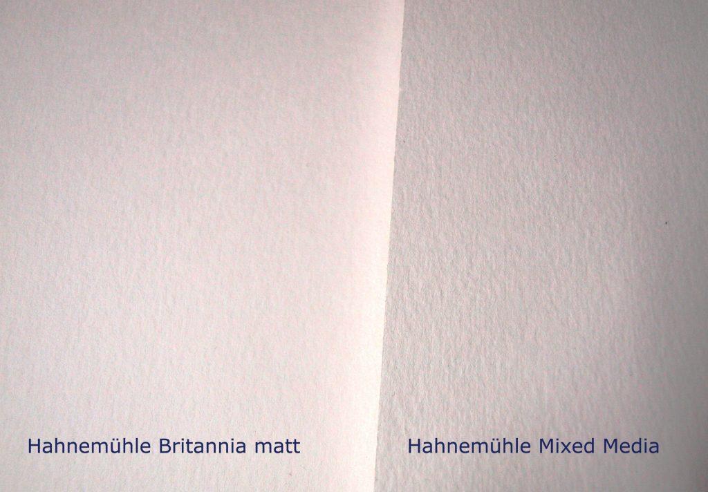 Hahnemühle Britannia matt versus Hahnemühle Mixed-Media Universalblock