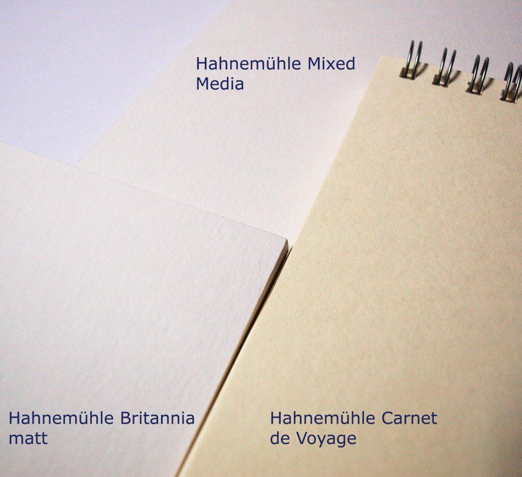 Hahnemühle Britannia matt, Hahnemühle Mixed-Media Universalblock, Hahnemühle Carnet de Voyage