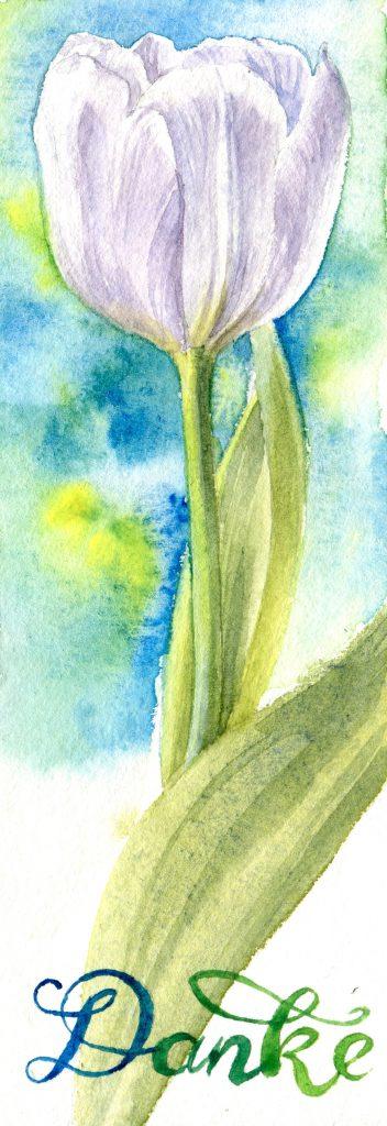 weiße Tulpe - Aquarell - Danke sagen und zu Hause bleiben