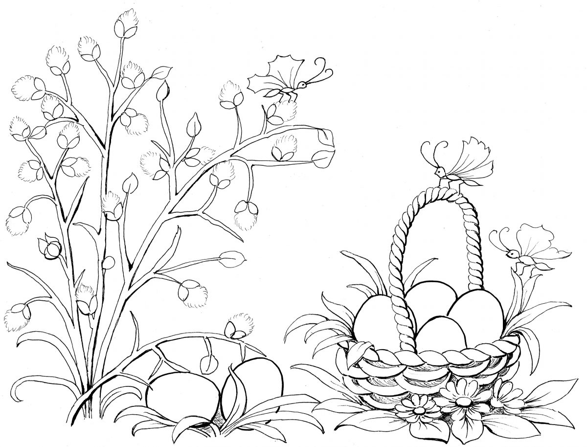 coloring page, Easter bunny, spring