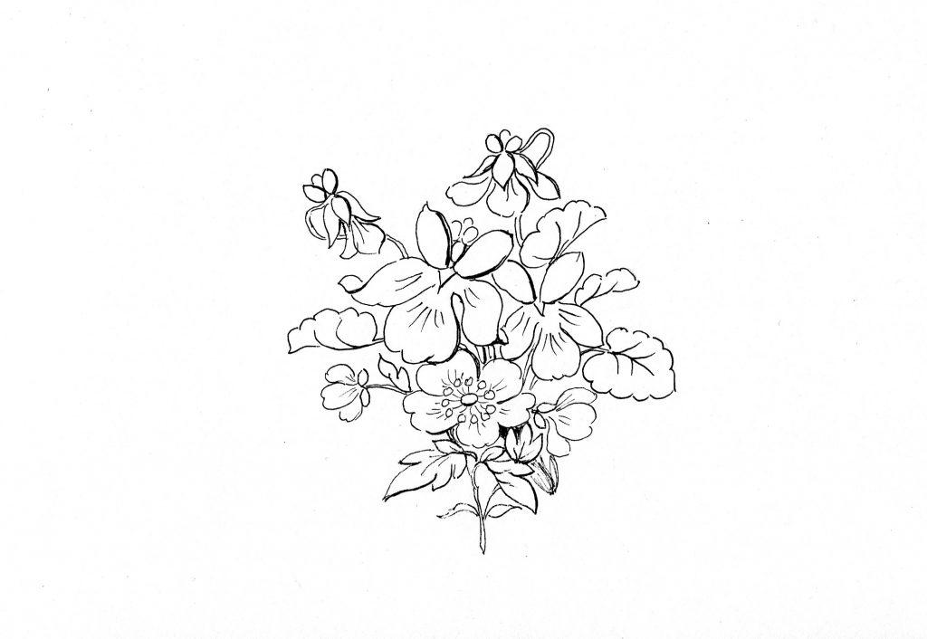 Blumenbild zum Ausmalen, Veilchen, Frühling