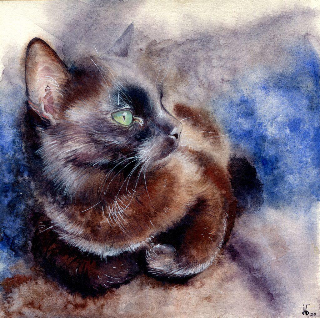 Aquarell - Illustration - Katze - Lieblingstier - schwarze Katze
