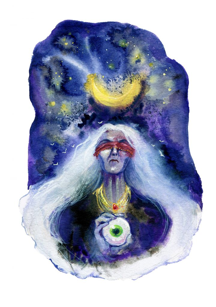 blind witch - daily spitpaint - water colour illustration - stygian sister - one eye - moon magic