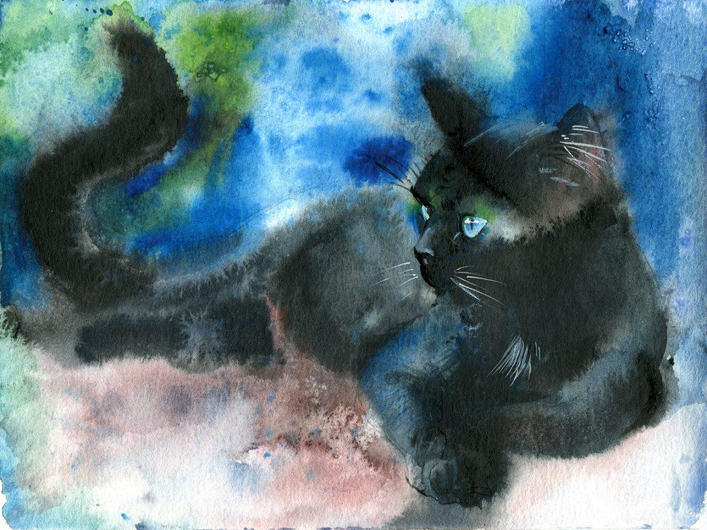 Aquarell - Illustration - Katze - Lieblingstier - schwarze Katze - Skizze
