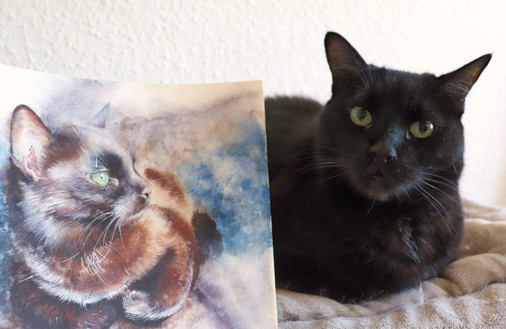 Aquarell - Illustration - Katze - Lieblingstier - schwarze Katze- Tierportrait - Original und Gemälde