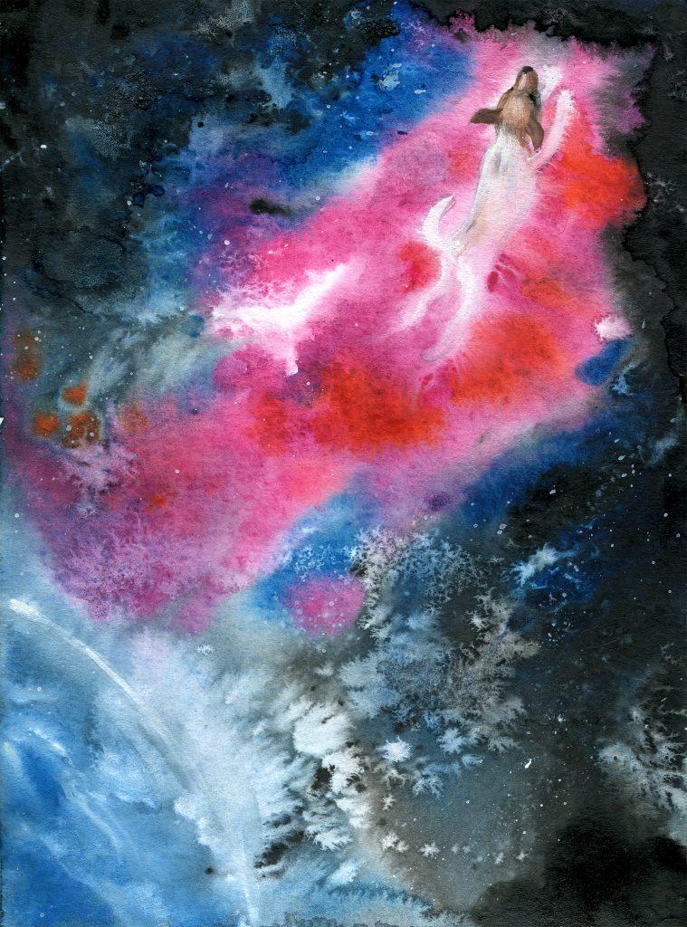 leaving orbit - daily spitpaint - water colour illustration - space art- earth - Laika
