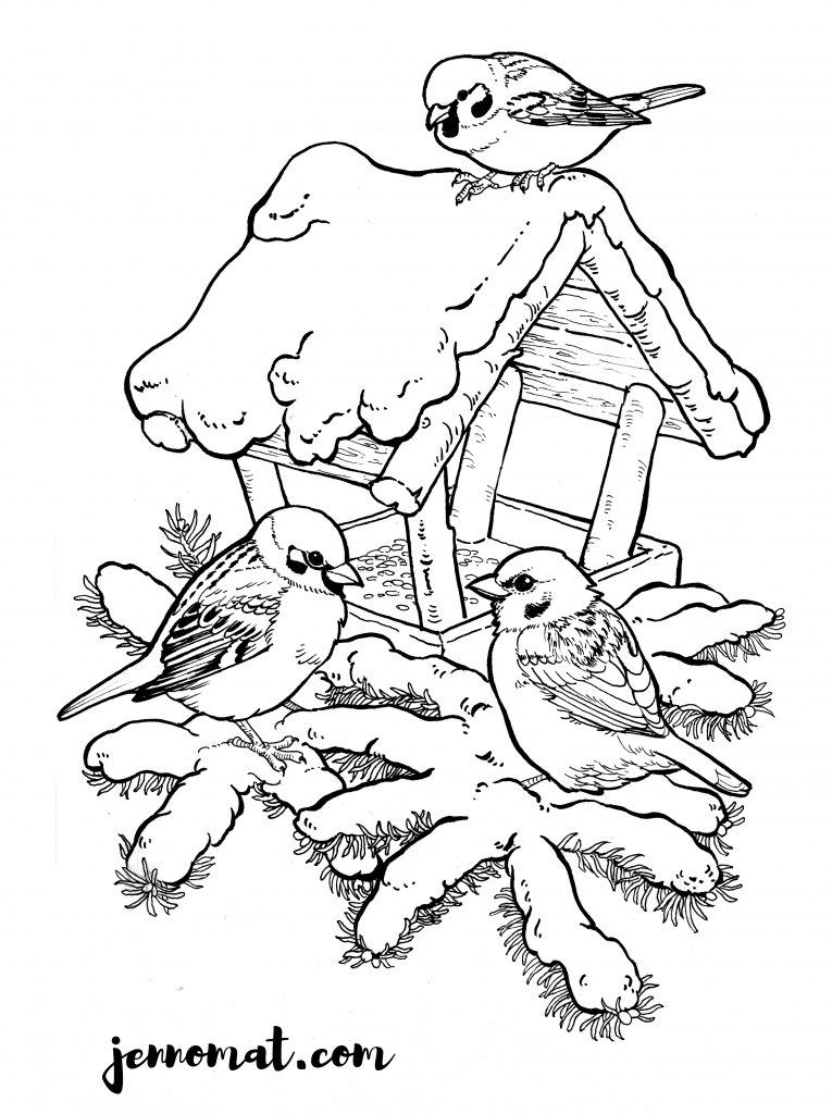 colouring picture with sparrows