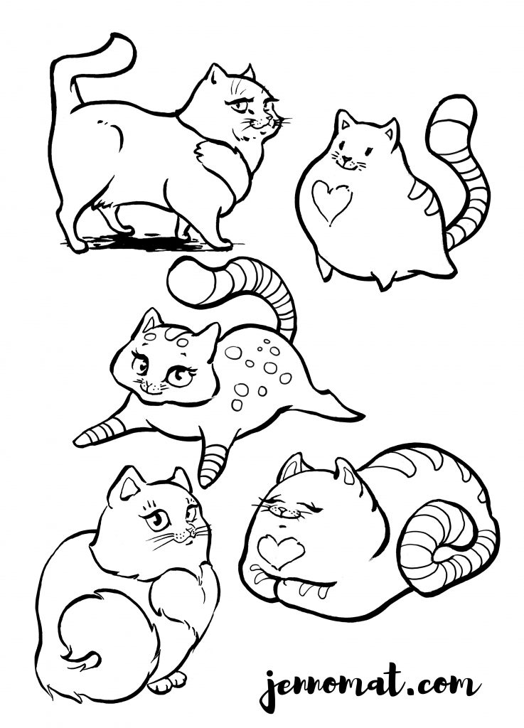 cats for colouring