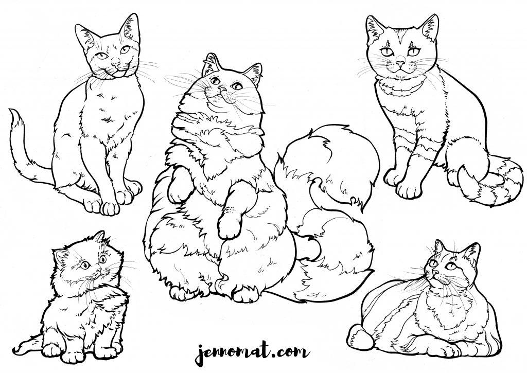 Katzen zum Ausmalen