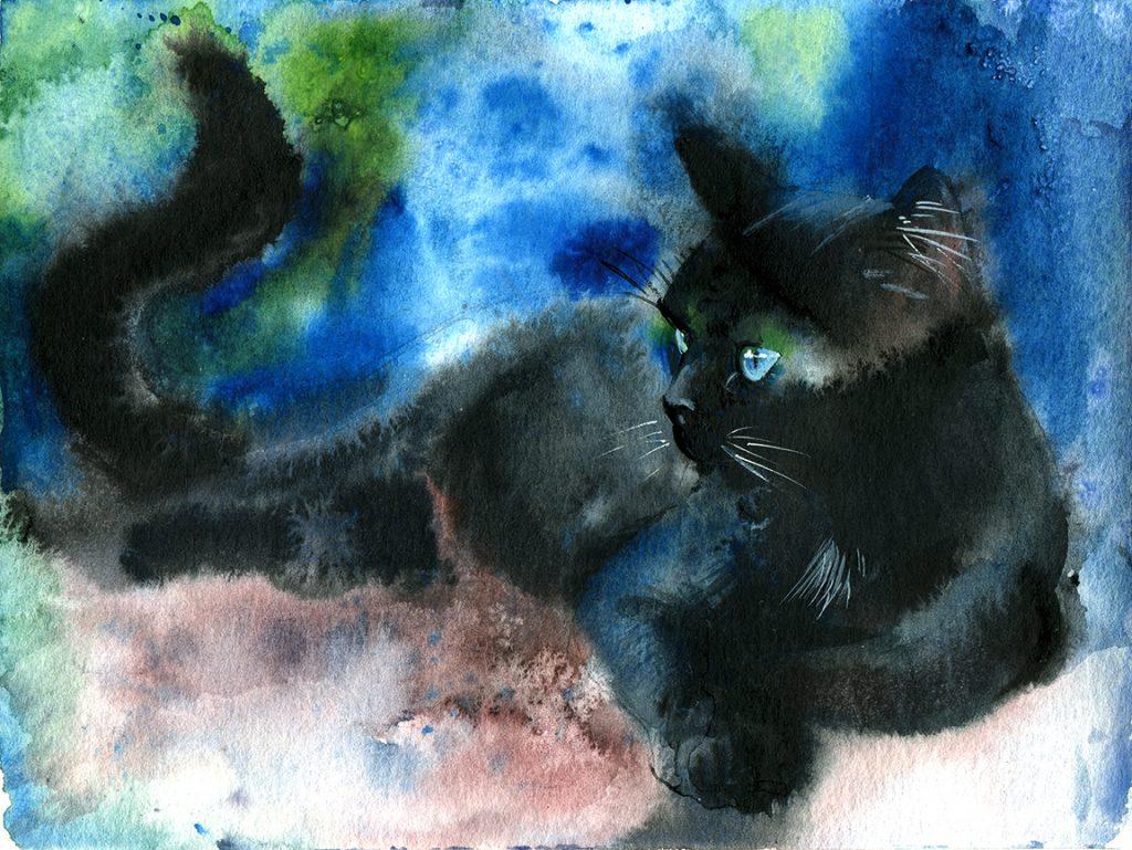Aquarell - Illustration - Katze - Lieblingstier - Tierportrait - schwarze Katze - Tierskizze