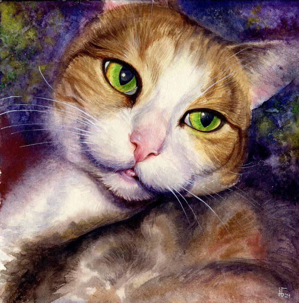 Aquarell - Illustration - Katze - Lieblingstier - Tierportrait - gestreifte Katze