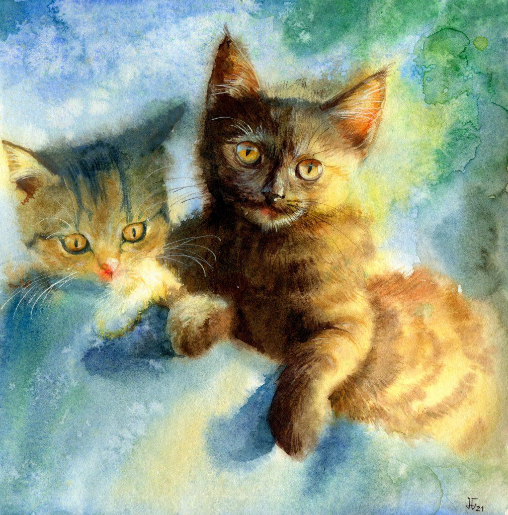 water colour - illustration - kitten - favorite pet - animal portrait